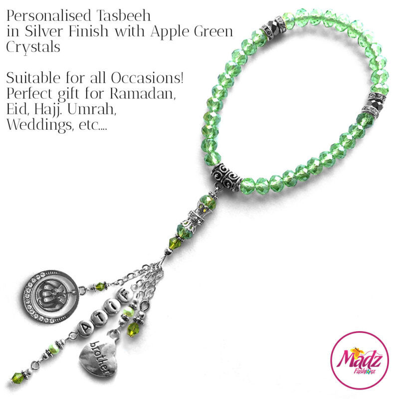 Madz Fashionz UK: 33 Beads Personalised Tasbeeh with Apple Green Crystals in Silver Finish
