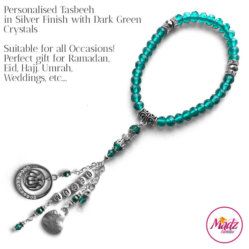 Madz Fashionz UK: 33 Beads Personalised Tasbeeh with Dark Green in Silver Finish