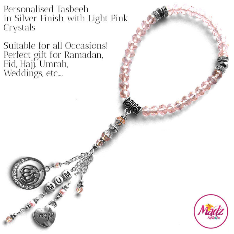 Madz Fashionz UK: 33 Beads Personalised Tasbeeh with Light Pink Crystals in Silver Finish