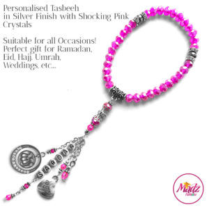 Madz Fashionz UK: 33 Beads Personalised Tasbeeh with Shocking Pink Crystals in Silver Finish