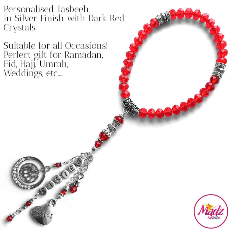 Madz Fashionz UK: 33 Beads Personalised Tasbeeh with Red Crystals in Silver Finish