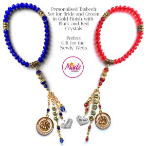 Madz Fashionz UK: Bride and Groom 33 Beads Personalised Tasbeeh Set with Royal Blue and Red Crystals in Gold Finish