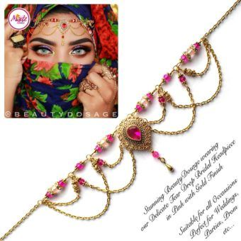Madz Fashionz UK: Beautydosage Crystal Drop Titli Headpiece 3 Gold Shocking Pink Hot