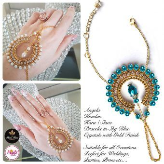 Madz Fashionz UK: Hennabyang Asian Bespoke Kundan Handchain Slave Bracelet Gold Sky Blue Crystal