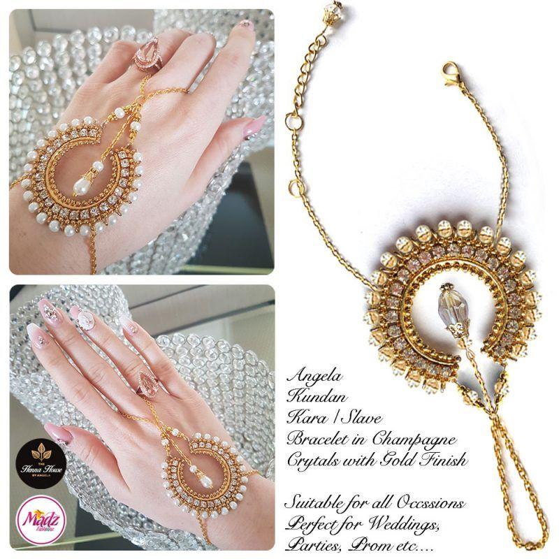 Madz Fashionz UK: Hennabyang Asian Bespoke Kundan Handchain Slave Bracelet Gold Champagne Crystal