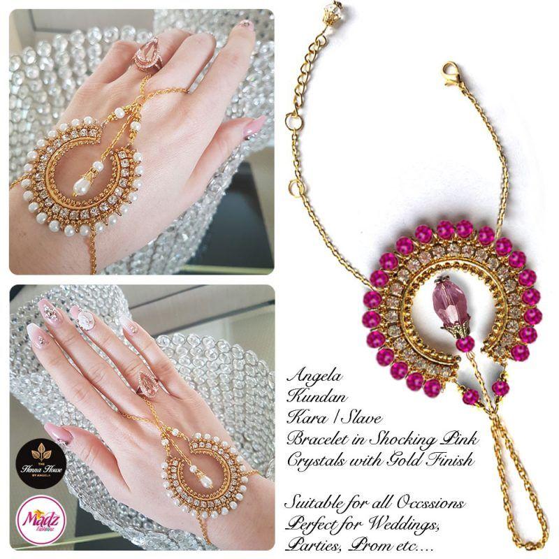 Madz Fashionz UK: Hennabyang Asian Bespoke Kundan Handchain Slave Bracelet Gold Shocking Pink Crystal