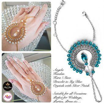Madz Fashionz UK: Hennabyang Asian Bespoke Kundan Handchain Slave Bracelet Silver Sky Blue Crystal