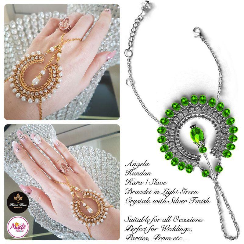 Madz Fashionz UK: Hennabyang Asian Bespoke Kundan Handchain Slave Bracelet Silver Light Green Crystal