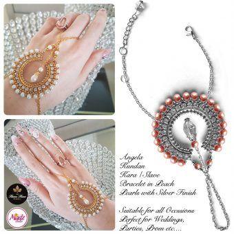 Madz Fashionz UK: Hennabyang Asian Bespoke Kundan Handchain Slave Bracelet Silver Peach Pearls