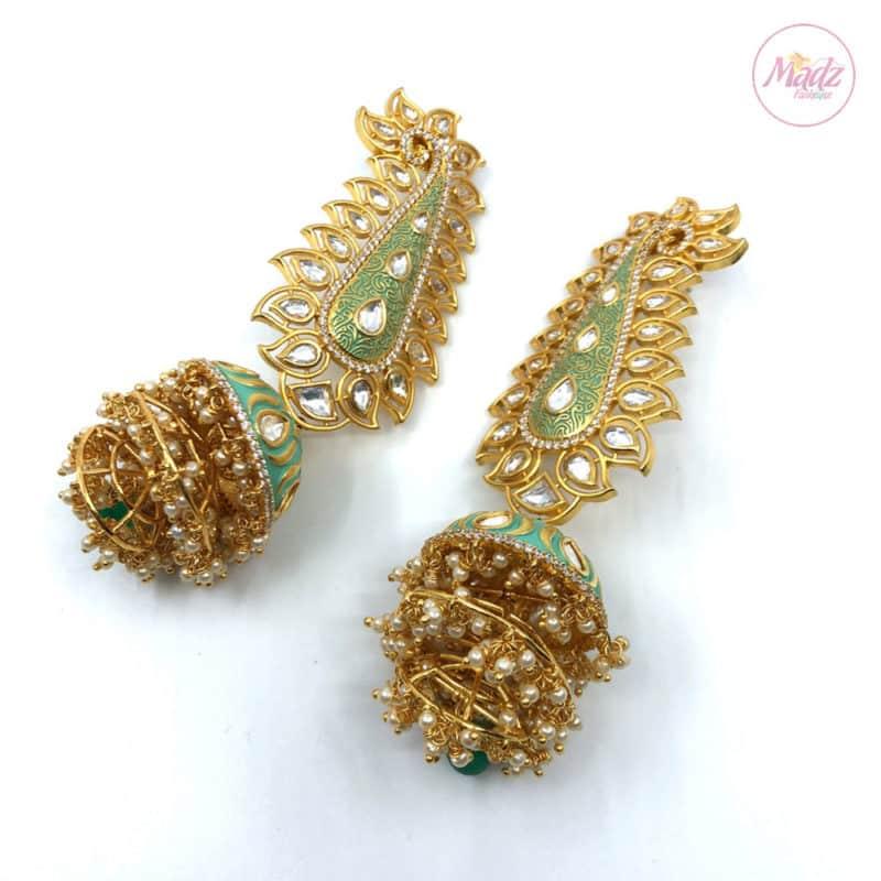 Madz Fashionz UK Pakeeza Moor Pearled Big Jhumkas Earrings Sea Green Indian Jewelry 2