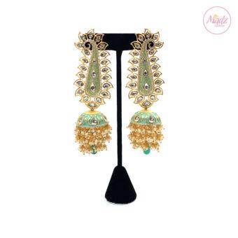 Madz Fashionz UK Pakeeza Moor Pearled Jhumkas Earrings Sea Green