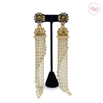 Madz Fashionz UK Nadiya Pearled Kundan Jhumkas Black Earrings Indian Jewellery Pakistani Jewellery