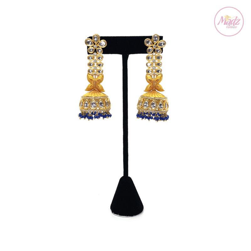 Madz Fashionz UK Zareen Jhumka Statement Kundan Blue Earrings Indian Jewellery Pakistani Jewellery