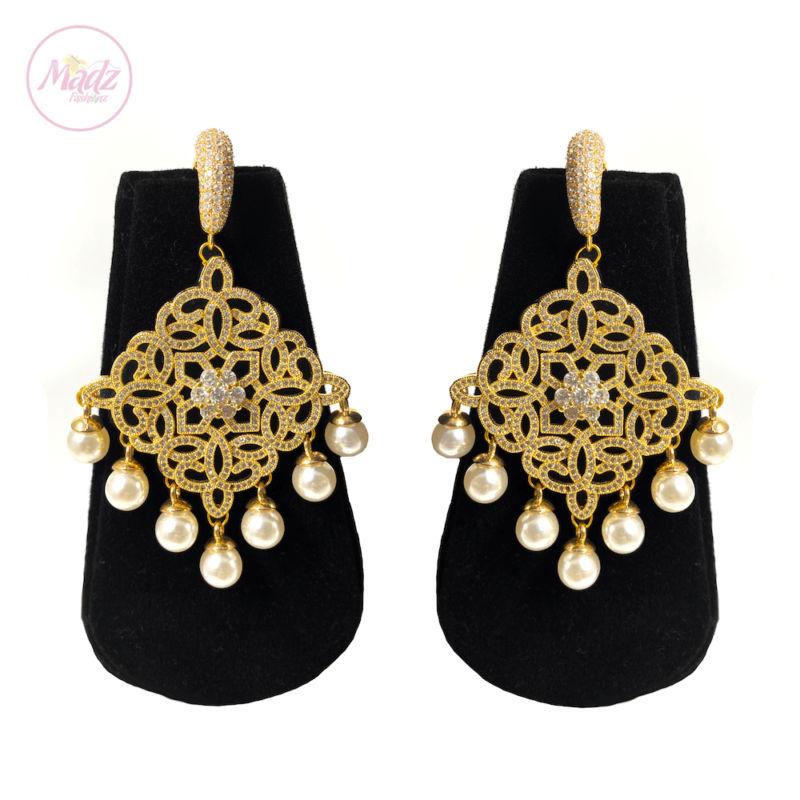 Hayat Zircon Earrings Bridal Stud Bali Pakistani Gold | Madz Fashionz UK 2