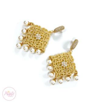 Hayat Zircon Earrings Bridal Stud Bali Pakistani Gold | Madz Fashionz UK