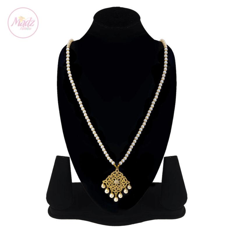 Madz Fashionz UK: Hayat Zircon Gold Pearl Long Bridal Necklace Mala 2