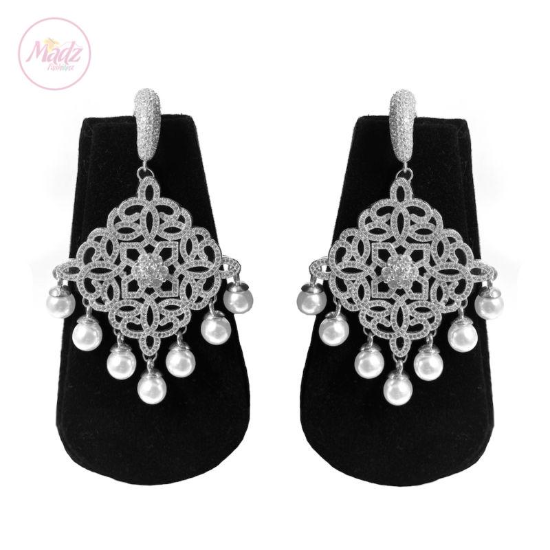 Hayat Zircon Earrings Bridal Stud Bali Pakistani Silver 2 | Madz Fashionz UK