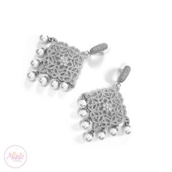 Hayat Zircon Earrings Bridal Stud Bali Pakistani Silver | Madz Fashionz UK