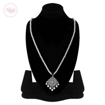 Madz Fashionz UK: Hayat Zircon Silver Pearl Long Bridal Necklace Mala 2