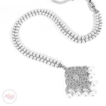 Madz Fashionz UK: Hayat Zircon Silver Pearl Long Bridal Necklace Mala