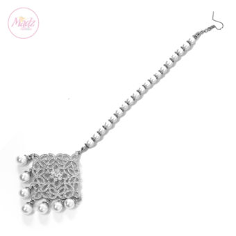 Madz Fashionz UK: Hayat Zircon Hair Headpiece Headchain Maang Tikka Silver
