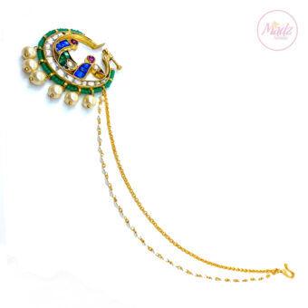 Jawaria Kundan Gold Multii-Colour Nath Nose Ring - Madz Fashionz