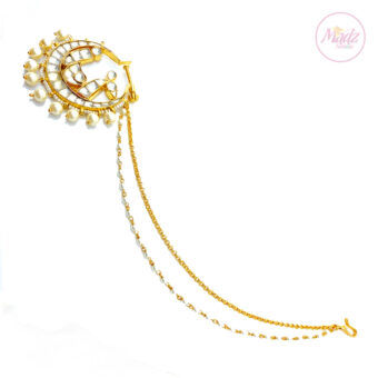 Jawaria Kundan Gold Pearl White Nath Nose Ring - Madz Fashionz