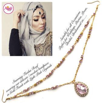 Madz Fashionz USA - Fatiha World Tear Drop Headpiece Gold and Light Pink Crystals