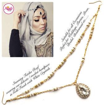 Madz Fashionz USA - Fatiha World Tear Drop Headpiece Gold and Royal White Crystals