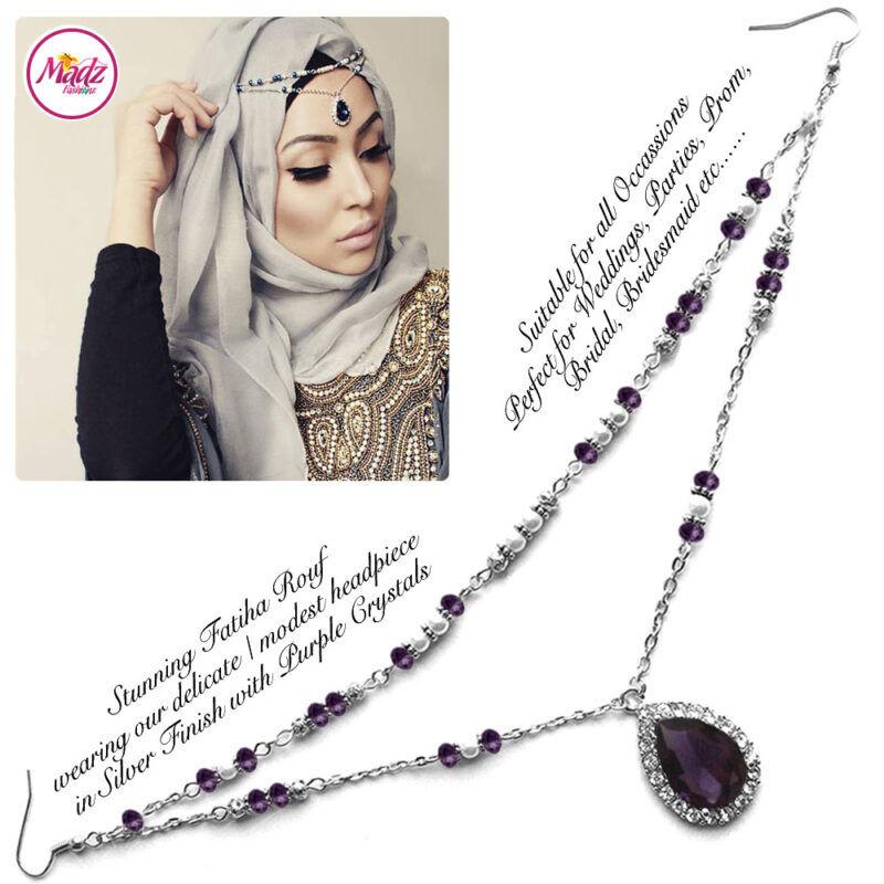 Madz Fashionz USA - Fatiha World Tear Drop Headpiece Silver and Purple Crystals