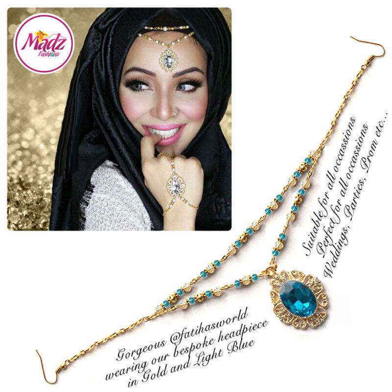 Madz Fashionz USA Fatiha World Chandelier Headpiece Matha Patti Gold and Light Blue