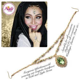 Madz Fashionz USA Fatiha World Chandelier Headpiece Matha Patti Gold and Light Green