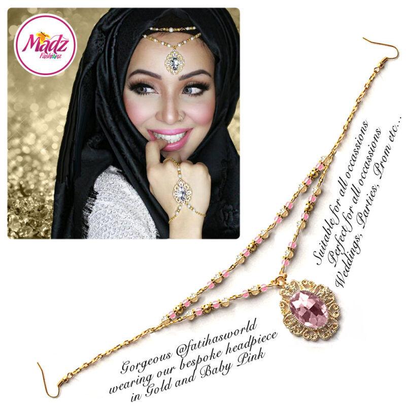 Madz Fashionz USA Fatiha World Chandelier Headpiece Matha Patti Gold and Light Pink