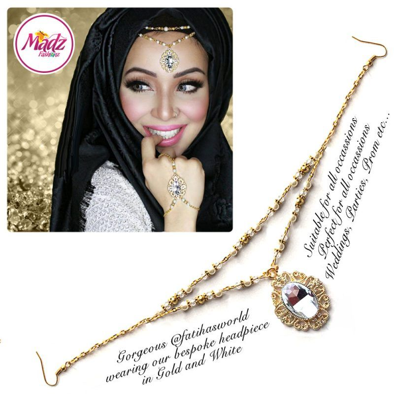 Madz Fashionz USA Fatiha World Chandelier Headpiece Matha Patti Gold and White