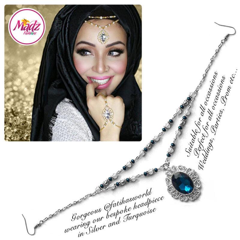 Madz Fashionz USA Fatiha World Chandelier Headpiece Matha Patti Silver and Turquoise Blue