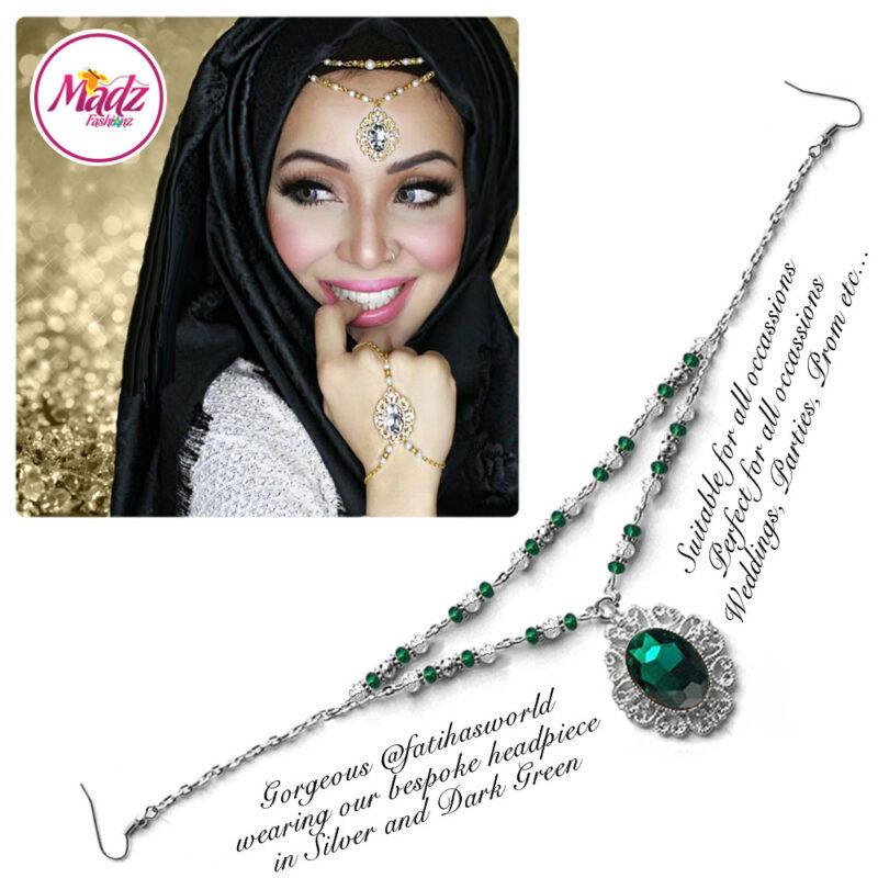 Madz Fashionz USA Fatiha World Chandelier Headpiece Matha Patti Silver and Dark Green