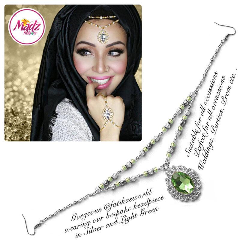 Madz Fashionz USA Fatiha World Chandelier Headpiece Matha Patti Silver and Light Green