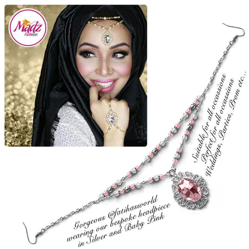 Madz Fashionz USA Fatiha World Chandelier Headpiece Matha Patti Silver and Light Pink