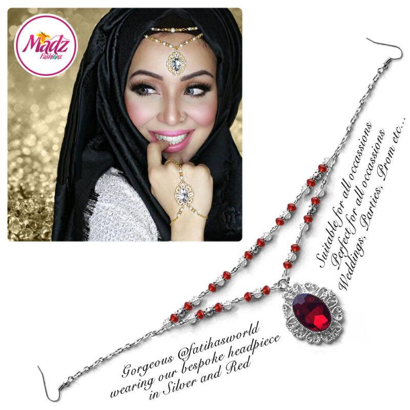 Madz Fashionz USA Fatiha World Chandelier Headpiece Matha Patti Silver and Red