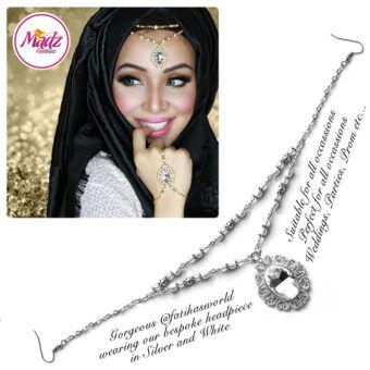 Madz Fashionz USA Fatiha World Chandelier Headpiece Matha Patti Silver and White