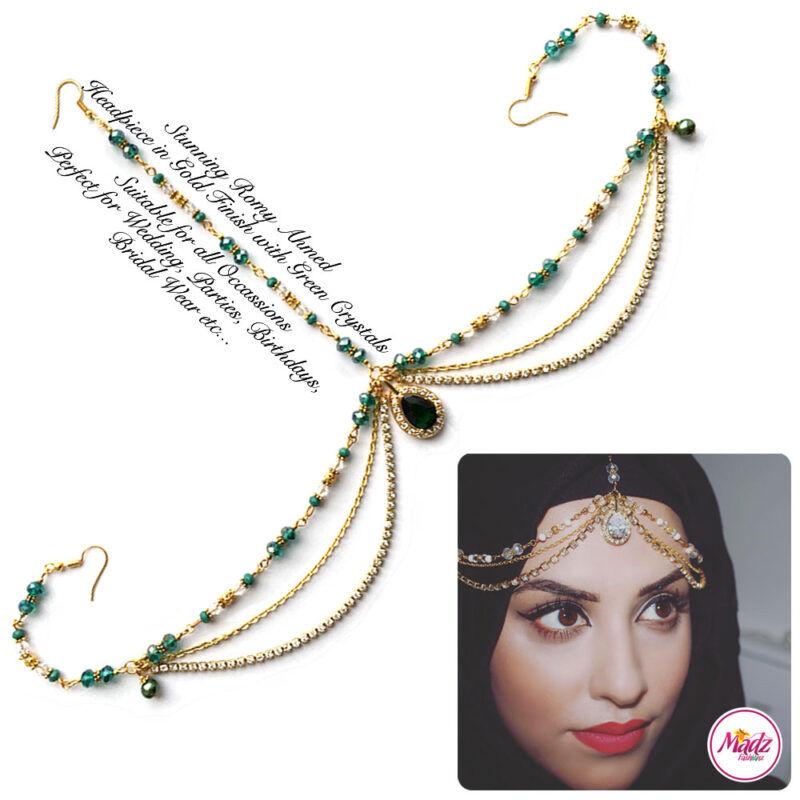 Madz Fashionz USA romy_ahmed Bridal Matha Patti Headpiece Gold and Green