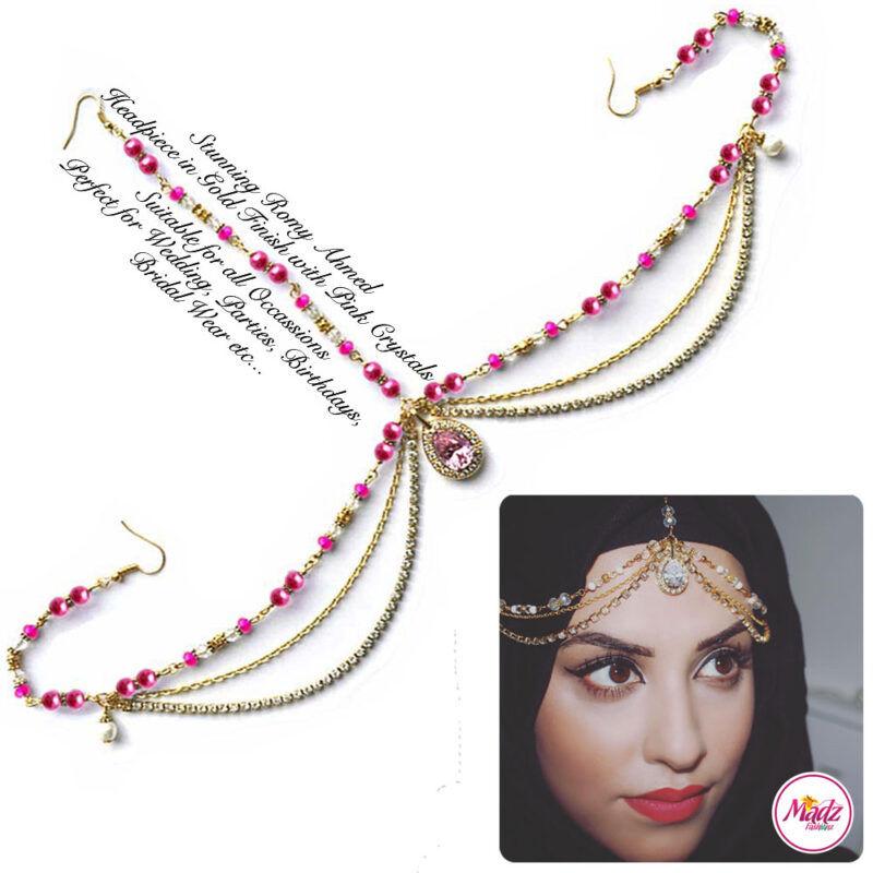 Madz Fashionz USA romy_ahmed Bridal Matha Patti Headpiece Gold and Light Pink