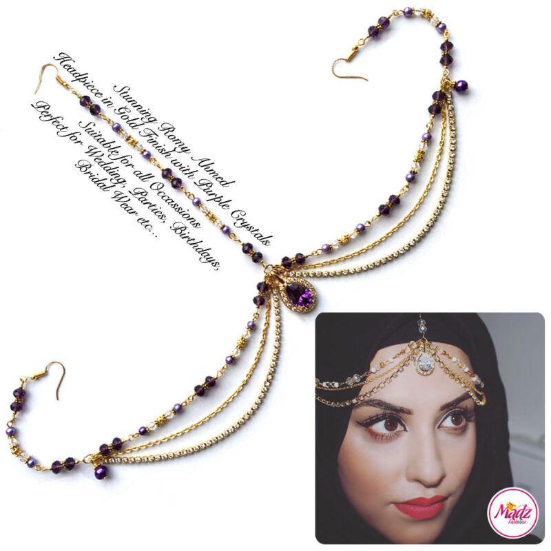 Madz Fashionz USA romy_ahmed Bridal Matha Patti Headpiece Gold and Purple