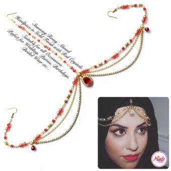 Madz Fashionz USA romy_ahmed Bridal Matha Patti Headpiece Gold and Red