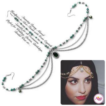 Madz Fashionz USA romy_ahmed Bridal Matha Patti Headpiece Silver and Green