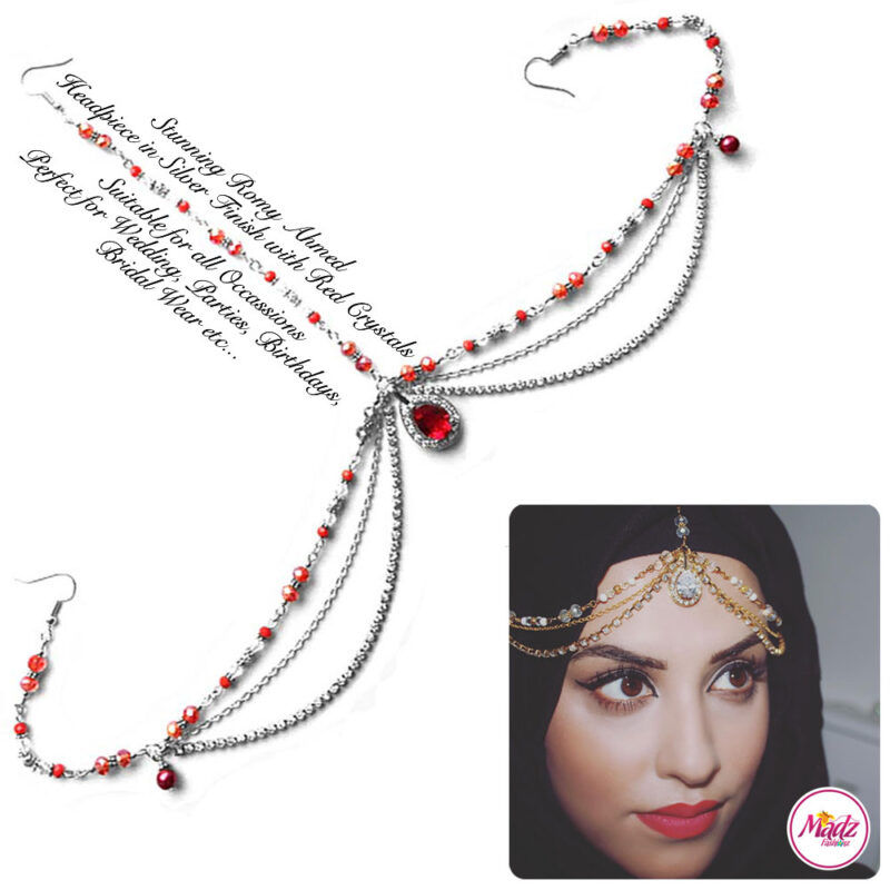 Madz Fashionz USA romy_ahmed Bridal Matha Patti Headpiece Silver and Red