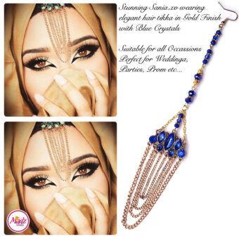 Madz Fashionz USA: Sania.XO Crystallised Maang Tikka Gold Blue