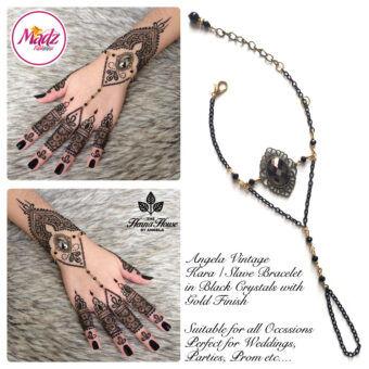 Madz Fashionz UK: Hennabyang Gypsy Black Hand Chain Panja Bracelet 2