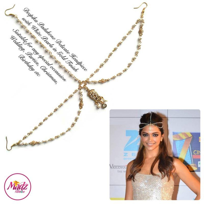 Madz Fashionz USA: Deepika Padukone Inspired Gold White Pearled Gold Headpiece 2