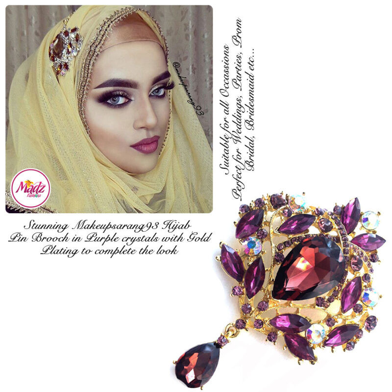Madz Fashionz USA: Makeupsarang93 Elegant Brooch Hijab Pin Gold Purple
